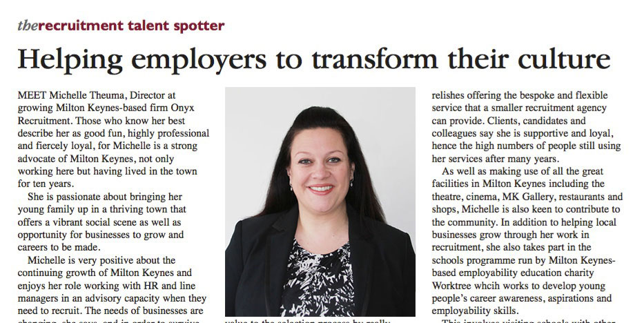 Michelle Theuma features in Business MK magazine